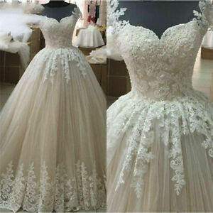 NEW Ivory Lace Wedding Dresses A line Beaded Princess Arabic Bridal Gown 2-26W
