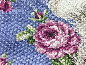 SALE Pink Roses on Lavender Barkcloth Vintage Fabric Drape Curtain Victorian 30s