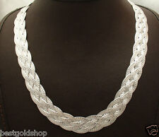 """17"""" Reversible 4 Row Woven Herringbone Chain Necklace Real Sterling Silver 925"""