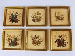 Set of 6 Handmade In Austria Mini Framed Pressed Flowers Gold Framed Pressed Flo