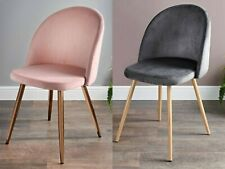 Moden Velour Fabric Dining Chair Accent Armchair Lounge Seat Wooden Effect Legs