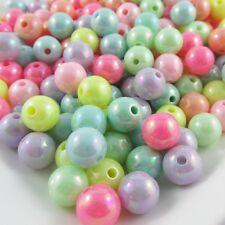 50g 90+pcs Acrylic Round Craft Beads AB Plated 10mm Hole 1.5mm
