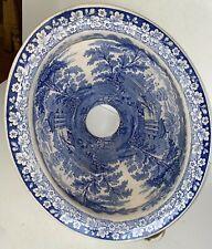 RARE VICTORIAN ANTIQUE Blue & White Water Closet TOILET BOWL