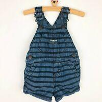 Oshkosh Vestbak Bib Overalls Shorts Size 6 Months Horizontal Stripes Dark Blue