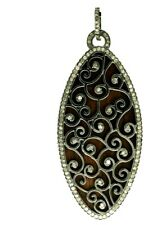 Natural Wood & Pave Diamond Marquise Shape Pendant 925 Sterling Silver Jewelry