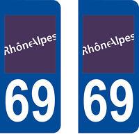 Département 69 sticker 2 autocollants style immatriculation AUTO PLAQUE