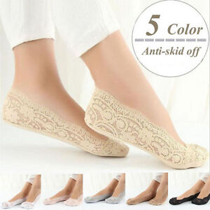 10 Pairs Women Cotton Blend Lace Antiskid Invisible Low Cut Socks Toe Ankle Sock