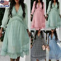 Women's Ladies V Neck Ruffle Flowy Swing Dress Floral Long Sleeve Midi Dress US