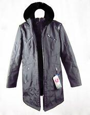 Style & Co. Women's Winter Hooded Coat Double Zipper Coat Black Size S