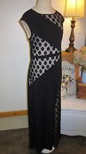 NWT CHICOS STUNNING BLACK DOT MIX MAXI DRESS, SZ 1 - S/M 8/10 - #570160004