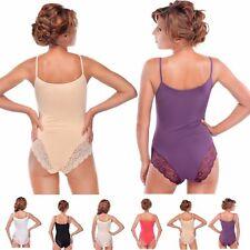 Damenbody mit Spagettiträgern und Spitze Trägerbody Tanz-Body Elegant Bodysuit