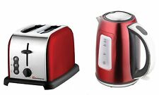 SQPro Senza Electric Cordless Kettle and Toaster Set  1.7L 2200W   Red