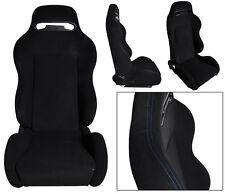 NEW 1 PAIR BLACK CLOTH & BLUE STITCHING ADJUSTABLE RACING SEATS ALL HONDA