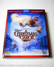 Disney Charles Dickens A Christmas Carol Jim Carrey Blu-ray 3D DVD Digital Copy