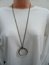 Design Six Two Intertwined Rings Diamante Pendant Necklace BNWT