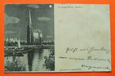 Mondschein AK Hamburg 1897 St. Georg Kirche Boote Schiffe Häuser Gebäude uvm +++