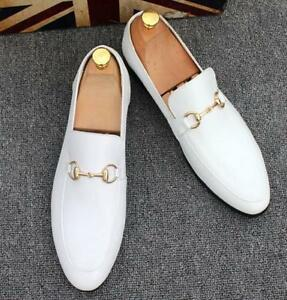 Men's Faux Leather Slip On Round Toe Formal Business Loafers Dress Party Shoes