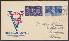 1946 Victory Illustrated FDC; Paddington Don't Waste Bread Slogan to Norway