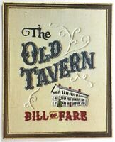 1980's Vintage Menu THE OLD TAVERN Restaurant Grafton Vermont
