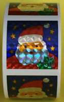 "100 Santa Claus Stickers in roll of 100 modules, Each Sticker 2.50"" RP8022"