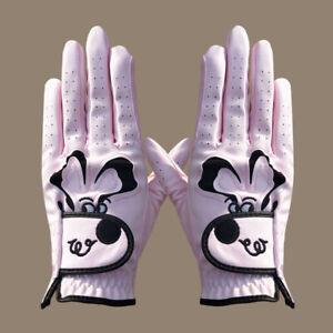 Women Ladies Golf Glove Pair Cartoon Puppy Dog Graphic Logo White Black Pink