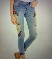 William Rast Floral Embroidered Ankle Skinny Summer Dance Jeans NWT