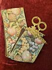 Corona Decor Tapestry Bell Pull Wall Hanging Brass Hardware Floral and Fruit Vtg