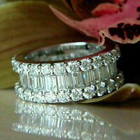 3Ctw Baguette Cut Diamond Eternity Anniversary Ring Band 14K White Gold Over