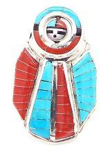 Zuni Sterling Silver Multi-Stone Inlay Rotating Sun Face Ring Size 10 - Don Dewa