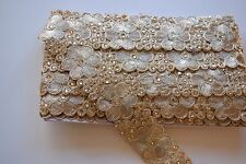 ATTRACTIVE ETHNIC INDIAN BEADED LACE BORDER WITH CRYSTALS -FLORAL PATTERN- 1 MTR