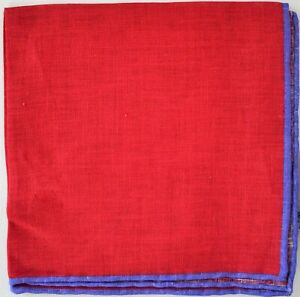 $80 New EDWARD ARMAH Red with Violet Trim 100% LINEN Pocket Square Handkerchief