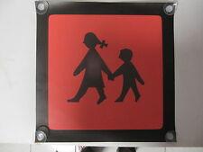 Warntafel,Schulbusschild aus Gewebeplane mit Saugnäpfe 23x23cm