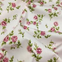 100/% Cotton Poplin Rose /& Hubble Fabric PINK VINTAGE ROSE Floral Material ISABEL