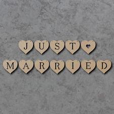 Appena sposato Bunting CUORE Pack x12-Matrimonio In Legno Craft Bunting BIANCHI