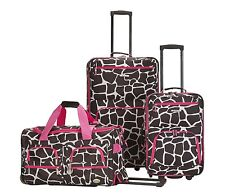 3 Piece Luggage Set Polyester - Pink Giraffe New