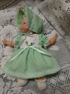 "Doll Clothes Dress Set For 10"" Newborn Thumbelina ""Mint Dots"" by Maureen"