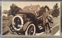Photograph ~ Well Dressed Man & Old Car With Luggage In Trunk~ CT License Plate