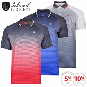 ISLAND GREEN MENS CoolPass® SUBLIMATION STRIPE GOLF POLO SHIRT / SIZES SMALL-4XL