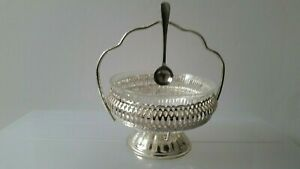 MAYELL ENGLAND EP.on STEEL SUGAR BOWL with GLASS INSERT & SPOON
