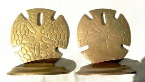 Pair of Vintage Solid Brass Sand Dollar Bookends - Nautical Decor