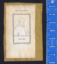 Geoffrey Chaucer & Mathematician Jerome Cardan-1809 Copper Plate Prints