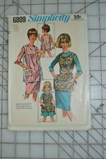 Simplicity 6809 sewing pattern, womens apron, misses 10-12, vtg