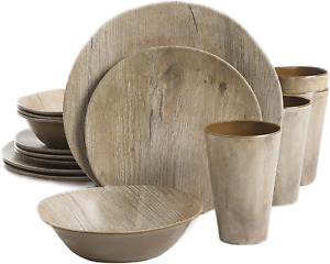 Gibson Home Woodlands Round Melamine Dinnerware Set Service for Four 16pcs New