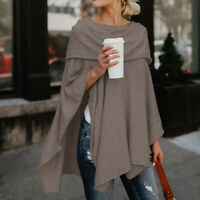 Women's Off Shoulder Blouse Asymmetrical Hem Poncho Sweater Pullovers Tunic Top