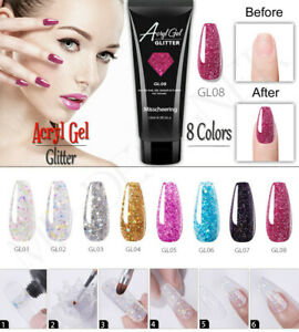 15 Poly UV Gel Ongle Extension Nail Art Manucure Tips Builder Paillette Glitter