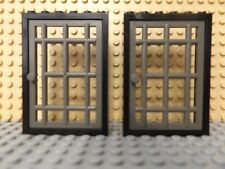 2 LEGO black door frame 4071 & rayée porte château des chevaliers Pirate Set 4611