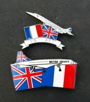 CONCORDE 25TH ANNIVERSARY BRITISH AIRWAYS / AIR FRANCE RARE PIN BADGE SET