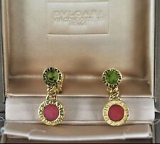 $5000 Bvlgari Bulgari 18K Yellow Gold Red & Green Drop Dangling Clip On Earrings