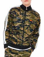 ellesse Mens Retro Natisone Track Jacket Zip Up Poly Sweat Top Camouflage Green