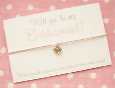 Will You Be My Bridesmaid Maid Honour Flower Girl? Wish Bracelet Gift & Envelope